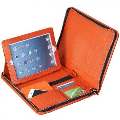 Orange iPad 1-4 Multi Function Portfolio Case Genuine Leather Handmade