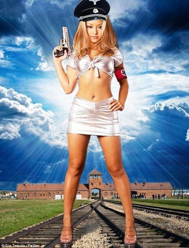 Offensive: Tequila was kicked off Britain's Celebrity Big Brother last August following hundreds of complaints about her inclusion in the reality show after it emerged she'd posed as Hitler in front of Auschwitz in a photoshopped image she posted on social media in 2013