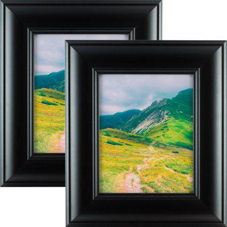 Craig Frames Dakota Wide, Modern Black Satin Picture Frame, 8.5x11 Inch, Set of 2