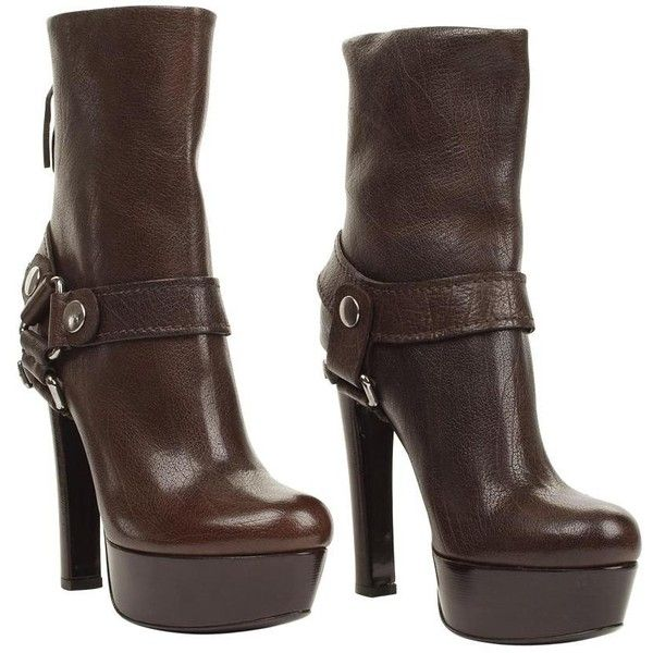 MIU MIU Leather saddle bit high ankle boot found on Polyvore