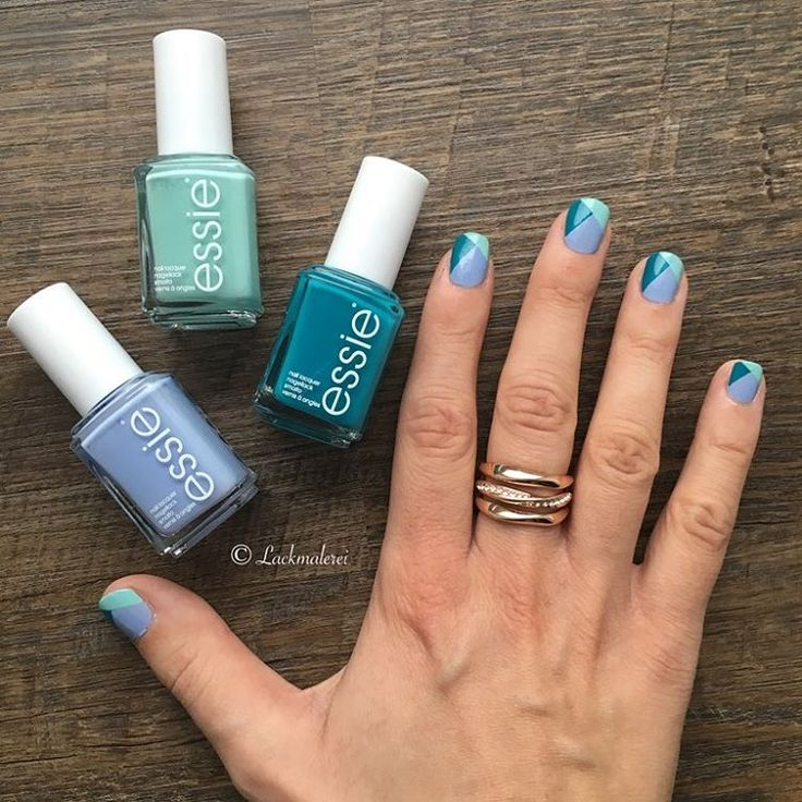 The best kinds of blues are essie polishes -- recreate this fun color block nail art using 'saltwater happy' 'blossom dandy' and 'garden variety'.