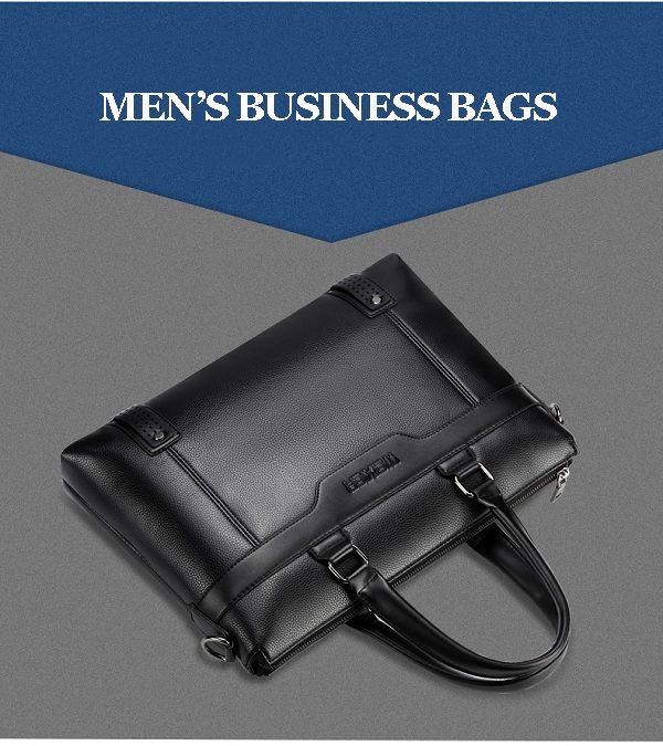 Men Quality PU Leather Simple Business Daily Handbag Laptop Bag Shoulder Bag