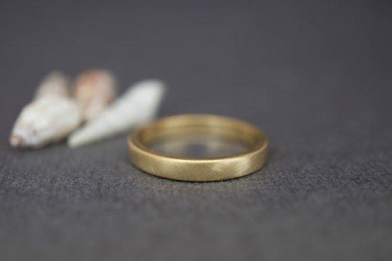 18k Gold Band Ring Flat Gold Wedding Band Women 3mm 18k Etsy Gold Wedding Bands Women Mens Gold Wedding Band 18k Gold Wedding Bands