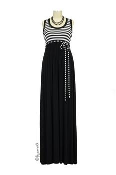 Grace Maxi Maternity Dress in Black and White Stripes by Olian with free shipping