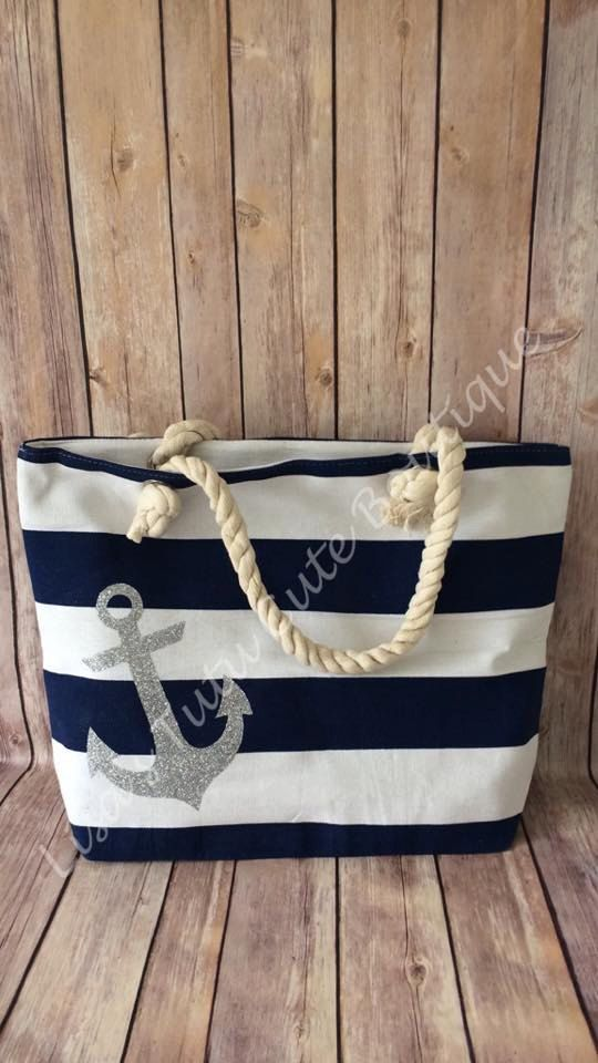 Nautical Canvas Bag with Anchor. Rope bag. Travel by LisasTutus