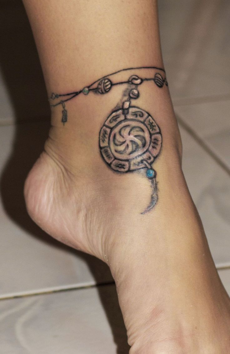 80 line tattoos to wear symbolically - Ankle Bracelet Tattoo Design For Women