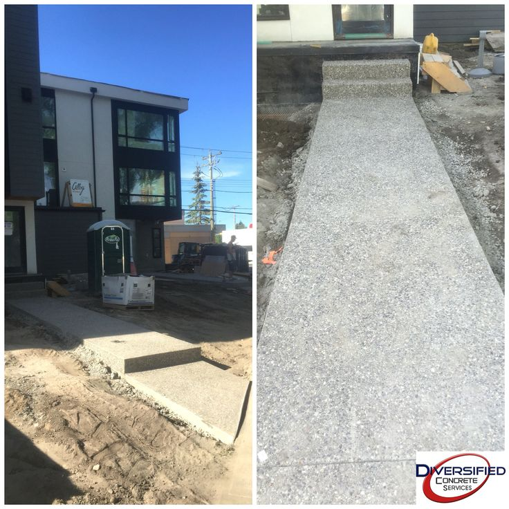 The forms came off these walk ways today at a triplex in Calgary. Just needs to be washed and sealed soon! #diversifiedconcreteservices #yyc #concrete #exposedaggregate #triplex