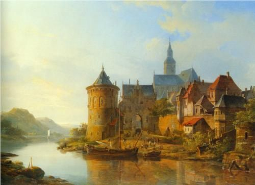 A View of a Town along the Rhine - Cornelis Springer