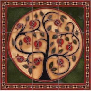 """Murals: Pomegranate Tree 22"""" x 22"""" Hand-Painted Ceramic Tile"""