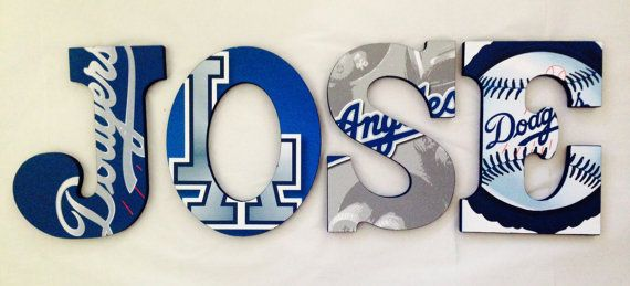 Personalized Wooden Wall Letters for Kids' Rooms - Los Angeles LA Dodgers Baseball Sports Theme on Etsy, $10.00