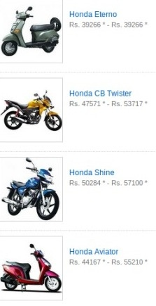 Honda bike and motorcycle,Honda bikes India, View Honda Price, Honda bikes in India, Honda models, Honda specifications, Read Honda Reviews, Honda Average, Honda Mileage , Engine Type, motocycle reviews and upcoming Honda bikes in india