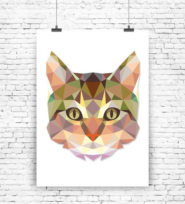 """Originaldruck - Kunstdruck """"Geometrische Katze"""" - ein Designerstück von MilaLu-Prints bei DaWanda"""
