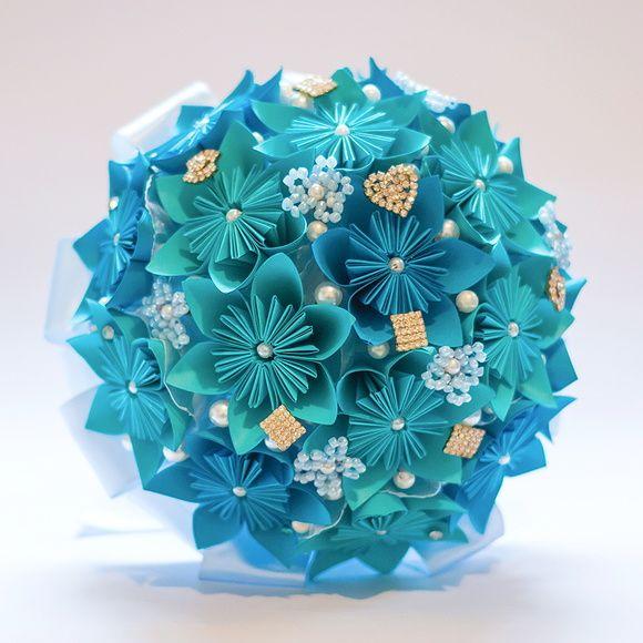 Buquê de Noiva-flor azul Origami 2 cores                                                                                                                                                                                 Mais