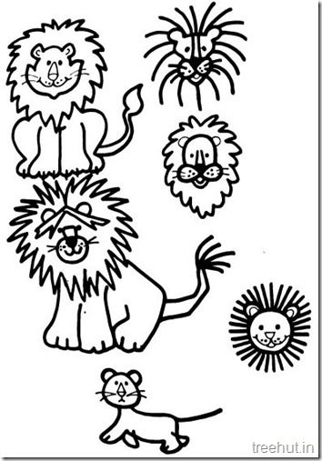 lion and lion face coloring pages 3