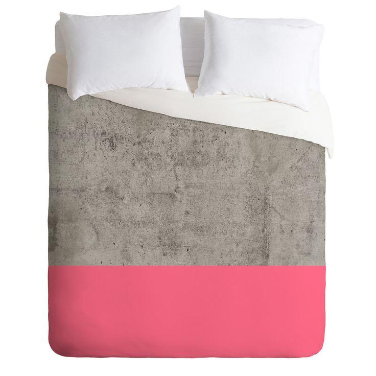 Emanuela Carratoni Concrete with Fashion Pink Duvet Cover | DENY Designs Home Accessories