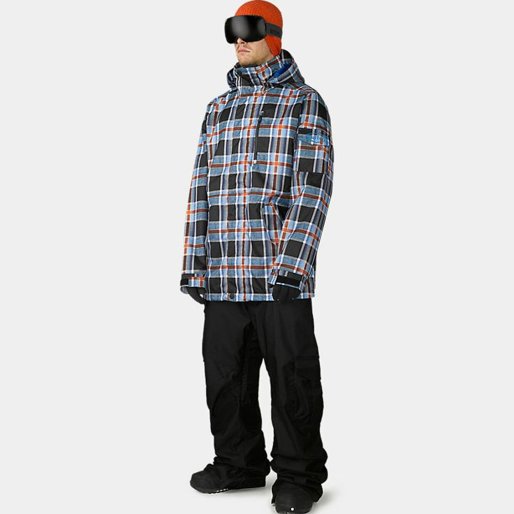 Latitude Snowboard Jacket, sig fit. Recycled Bottle Polyester Printed Plain Weave [Karl Plaid and Soundcloud Stripe Colorway] Mapped with Embossed Taffeta Lining. DRYRIDE Durashell™ 2-Layer Nylon Plain Weave Fabric [10,000MM, 10,000G]