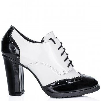 MEDINA Heeled Cleated Sole Brogue Ankle Boots - Black / White Patent