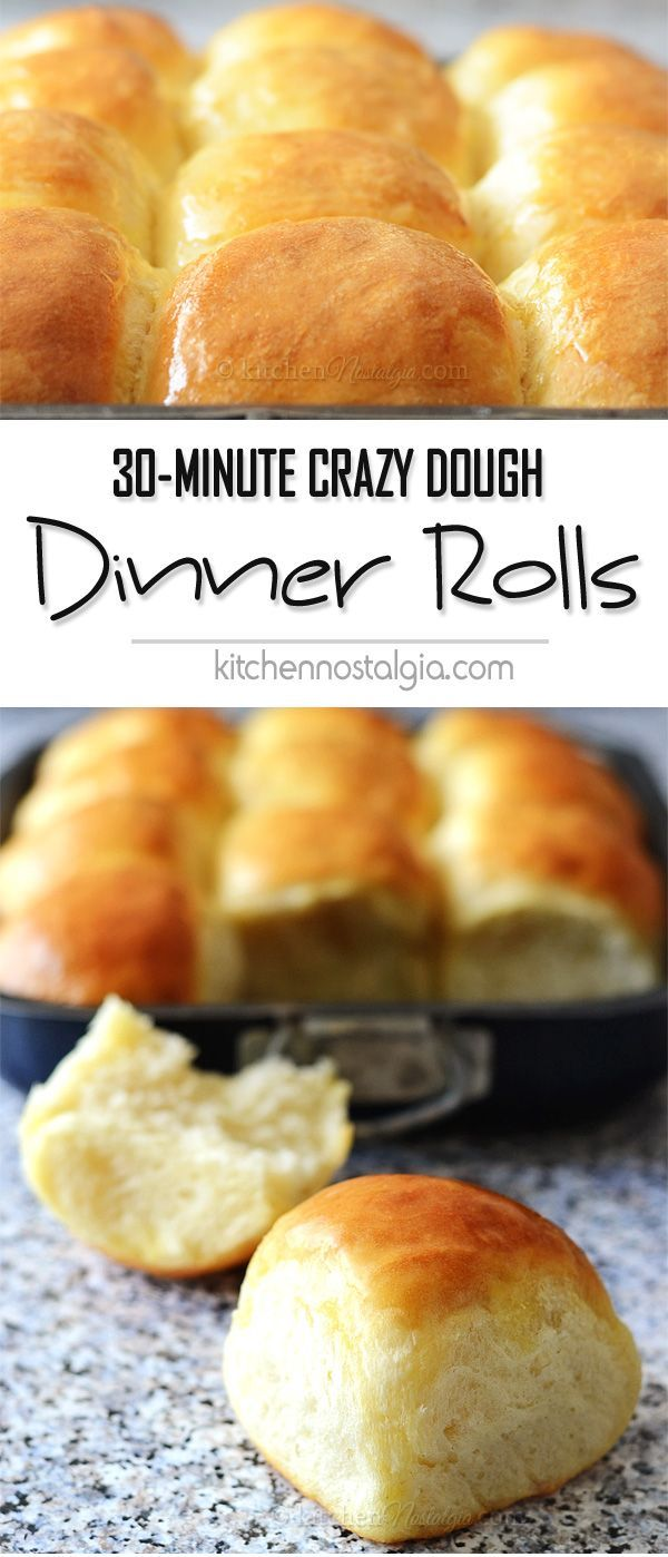Easy 30-Minute Dinner Rolls (with Crazy Dough) - it is so quick and easy to make soft and fluffy homemade dinner rolls from scratch: mix-roll-bake! And they taste AMAZING!