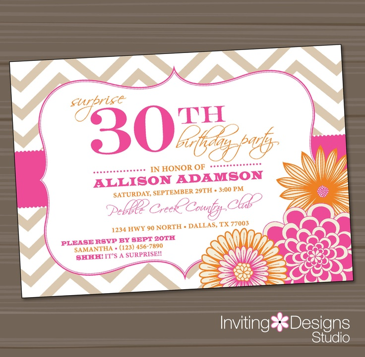 Birthday Party Invitation, 20th, 25th, 30th, 40th, 50th, Pink, Orange, Surprise, Chevron - Customize your Colors (PRINTABLE FILE)