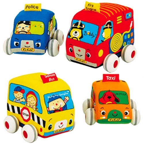 $34.95 Ks Kids Pull Back Autos. This great set of four soft first vehicles includes a School Bus, Fire Engine, Police Car and Taxi Cab. Each vehicle features pull-back-and-go action for hours of fun. Kids never tire of pushing and pulling these colorful cars, and is a great way to share their joy and wonder with their peers while playing. The plastic base is detachable, and each soft vehicle is machine washable. School Bus and Fire Engine measure 3.7H x 4.1 W x 4.1 D. Police car and taxi Ca