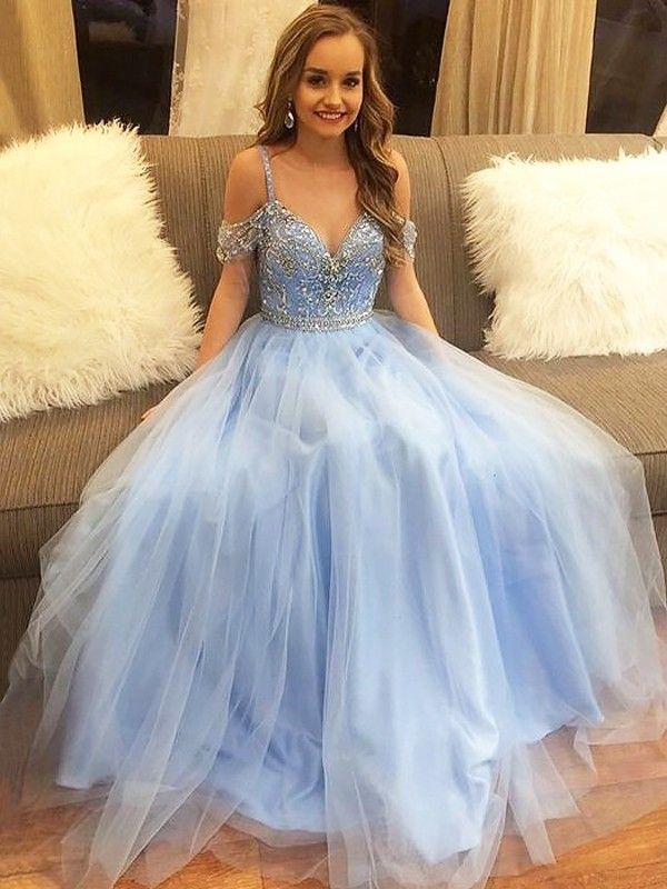 e8780bde336 Stunning A-Line Off-the-Shoulder Cut Tulle Long Dresses With Beading - Gloryava  Online