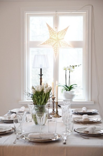 Simple white table with star light