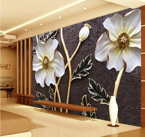 Cheap white floral wallpaper, Buy Quality floral wallpaper for walls directly from China floral wallpaper Suppliers: Embossed White floral Wallpaper for walls 3 d Large Photo Murals Murales De Pared 3d Wallpaper Art Wall Decor Custom Size