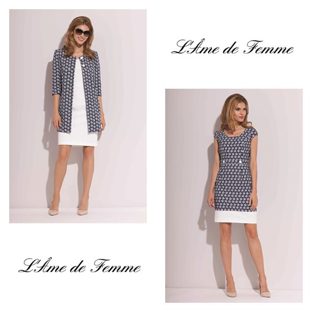 there are a dress and a long jacket from L`Ame de Femme