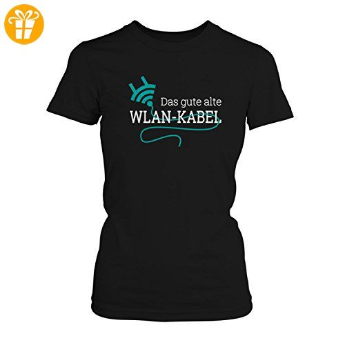 Fashionalarm Damen T-Shirt - Das gute alte WLAN-Kabel | Fun Shirt mit