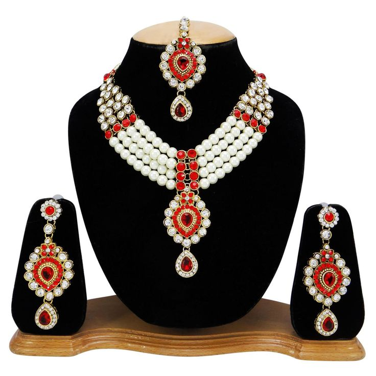 Traditional Indian Necklace Earring Tikka Set Bollywood Bridal Ethnic Jewelry