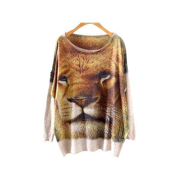 Lion King Print Round Neck Batwing Jumper ST0230001 (£13) ❤ liked on Polyvore featuring tops, sweaters, beige, bat sleeve tops, batwing sweater, round neck sweater, jumper top and batwing tops