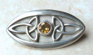 Sterling Silver Celtic Design Citrine Brooch.