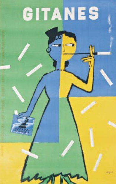 RAYMOND SAVIGNAC (1886-1951) GITANES Affiche publicitaire entoilée 163 x 105 c