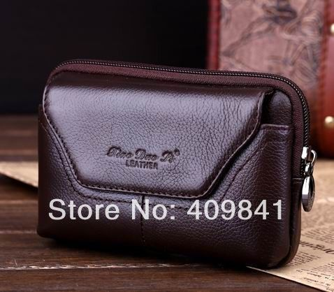 "freeshipping Original 4"" ZTE V889S Genuine leather carry belt pouch crossover waist purse case  - black and brown Dropshipping"