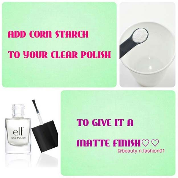 Beauty Hacks for Teens - Little Bit of Cornstarch to Your Glossy Polish - DIY Makeup Tips and Hacks for Skin, Hairstyles, Acne, Bras and Everything in Between - Pictures and Video Tutorials for Girls of All Shapes and Sizes Whether You're Fit or Want to Lose Weight - Get in Shape for Summer with These Awesome Ideas - thegoddess.com/beauty-hacks-teens