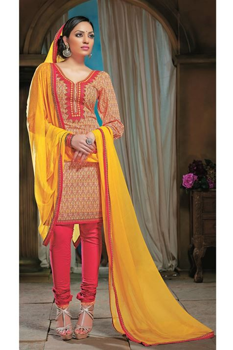 Printed Cotton Yellow,Red Salwar Suit