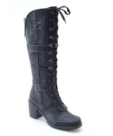 Another great find on #zulily! Black Lace-Up Combat Boot by Italina #zulilyfinds