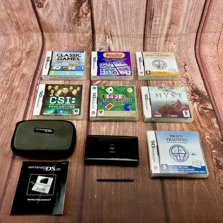 Nintendo Ds lite Bundle Console Case 7 Games Stylus Ds Instruction manual vgc