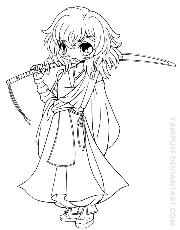 Masakuni Chibi Lineart Commission By YamPuff