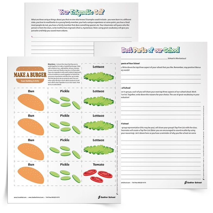 29 best BackToSchool Resources Activities for the Classroom – Team Building Worksheets