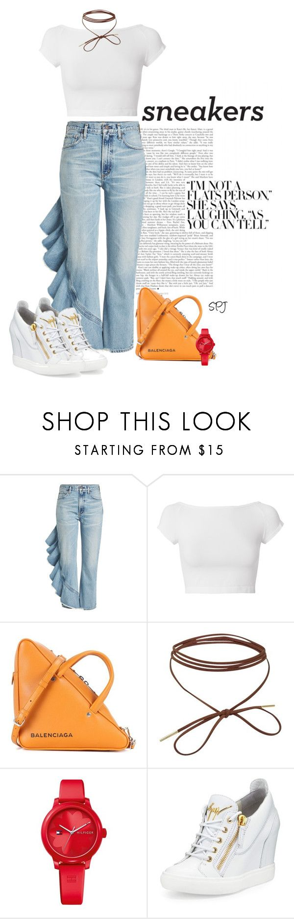 """White Wedge Sneakers"" by s-p-j ❤ liked on Polyvore featuring Citizens of Humanity, Helmut Lang, Balenciaga, Tommy Hilfiger and Giuseppe Zanotti"