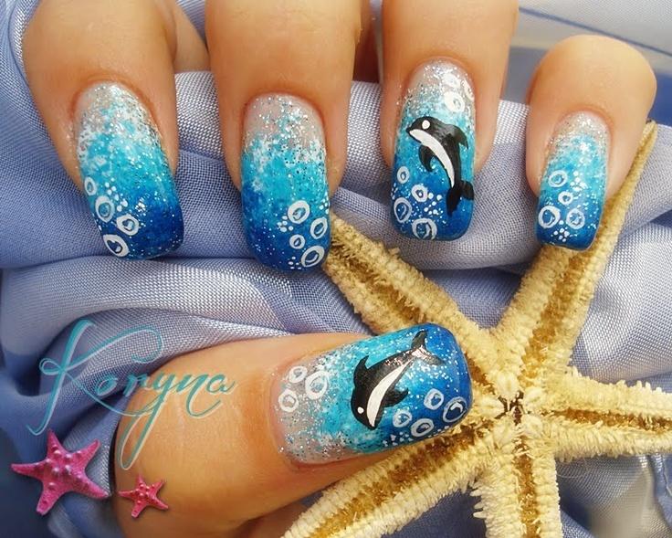 Dolphin Nail Gradient. So cute!