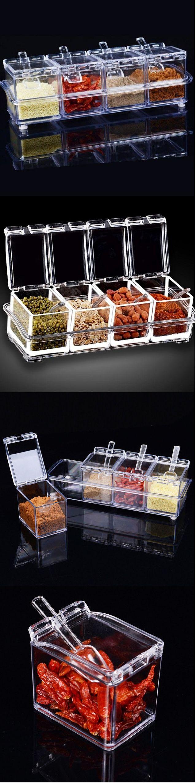 US$10.69 4Pcs Transparent Seasoning Boxes For Kitchen Condiment Bottle Container