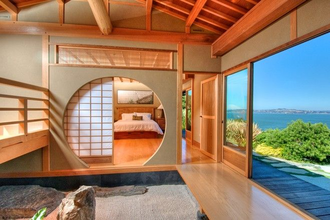 This house on San Francisco Bay features a traditional Japanese layout fused with high-tech gadgetry. The master bathroom has views of the bay and an interior rock garden. Many of the home's high-tech features, such as remote controls for sliding partitions and lighting, are hidden behind the walls. (Source: Matt McCourtney)