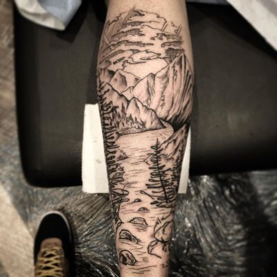 thebutcherblog:  Did this mountain/river scene on my long time good friend…