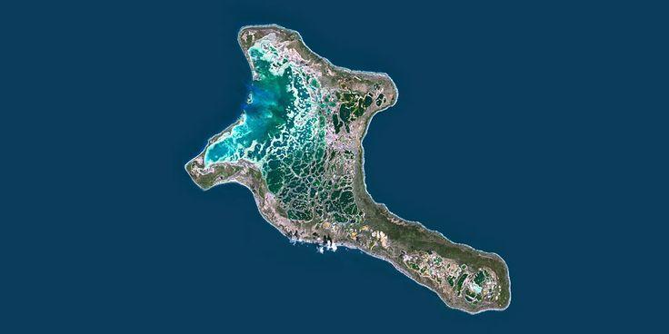 Kiritimati or Christmas island, Kiribati, Micronesia - Big coral atoll and lagoon, the entire island is a Wildlife Sanctuary - PlanetSAT satellite image