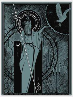 Hécate. Ella es una deidad ctónica, y se ha asociado con la lechuza. El símbolo del eclipse detrás de su trono negro es un símbolo de la luna bastante claro, y Hécate se asocia con la luna - y su primera identidad era como una diosa de la luna.