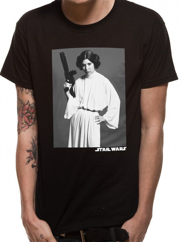 f908db98642 Star Wars T-Shirt Princess Leia Carrie Fisher Official Unisex Black Tee - Star  Wars