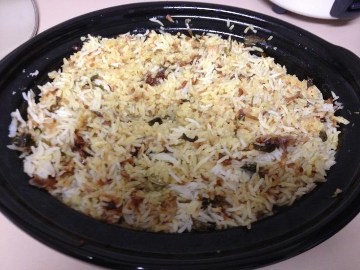 Dum style chicken biriyani using a slow cooker