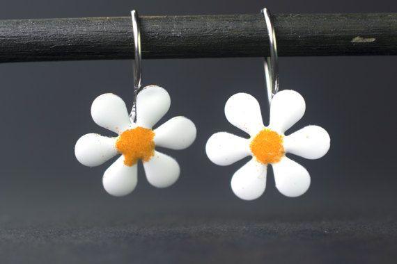 Daisy Earrings for Kids Enameled Earrings for Girls by CinkyLinky